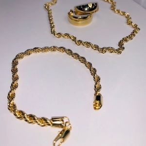 Gold plated rope jewelry set